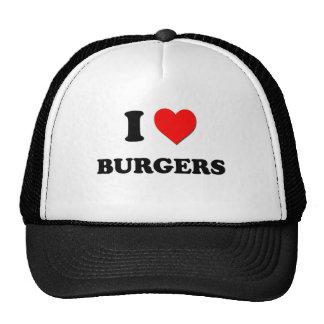 Amo las hamburguesas (la comida) gorras de camionero