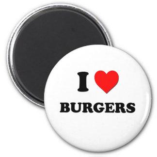 Amo las hamburguesas (la comida) imán redondo 5 cm