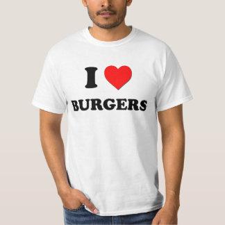 Amo las hamburguesas (la comida) playera