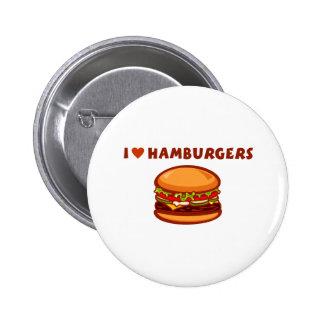 Amo las hamburguesas pin redondo de 2 pulgadas