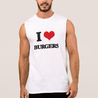 Amo las hamburguesas camisetas sin mangas