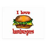 Amo las hamburguesas postal