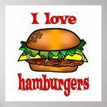 Amo las hamburguesas poster