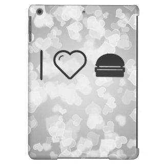 Amo las hamburguesas regulares funda para iPad air