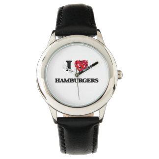 Amo las hamburguesas relojes de pulsera