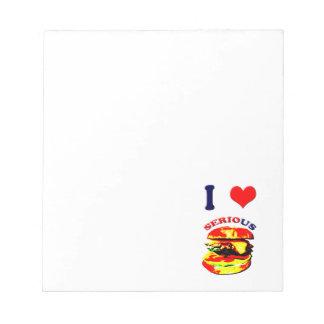 Amo las hamburguesas serias bloc de notas