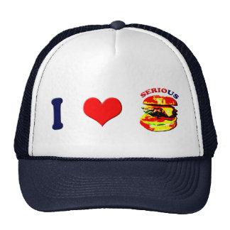 Amo las hamburguesas serias (horizontales) gorras