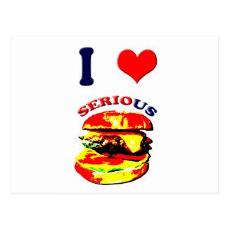 Amo las hamburguesas serias postales