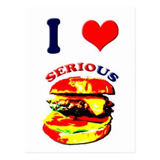 Amo las hamburguesas serias tarjetas postales
