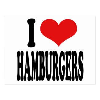 Amo las hamburguesas tarjeta postal