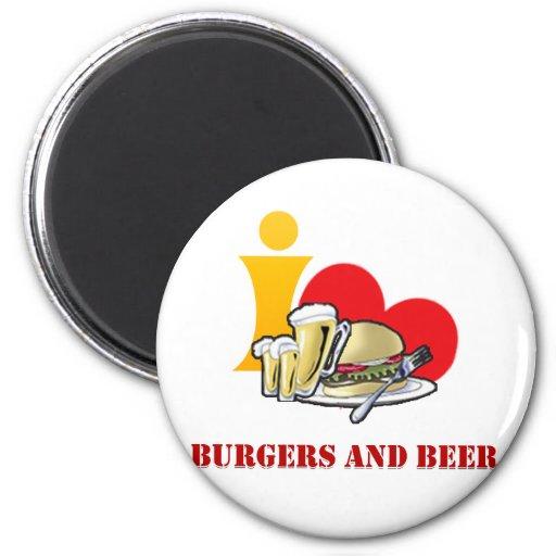 Amo las hamburguesas y la cerveza ah la hamburgues imán redondo 5 cm