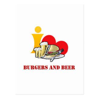 Amo las hamburguesas y la cerveza ah la postal