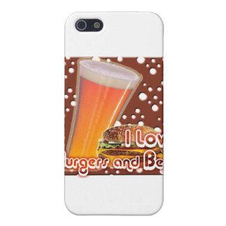 Amo las hamburguesas y la cerveza Brewskies iPhone 5 Carcasas