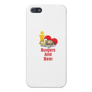 Amo las hamburguesas y la cerveza iPhone 5 fundas