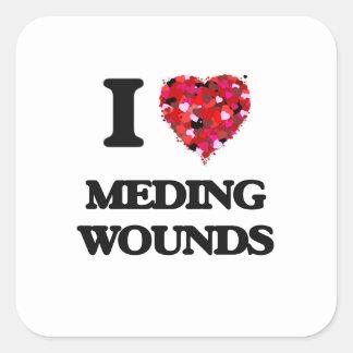 Amo las heridas de Meding Pegatina Cuadrada