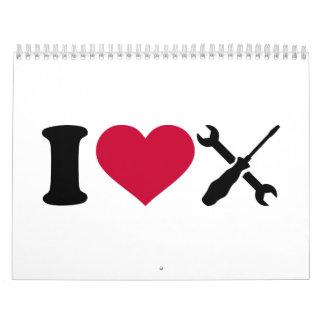 Amo las herramientas del destornillador calendarios