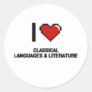 Amo las idiomas y la literatura clásicas Digitaces Pegatina Redonda