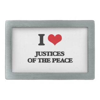 Amo las justicias de la paz hebilla cinturón rectangular