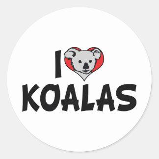 Amo las koalas del corazón - amantes del oso de pegatina redonda