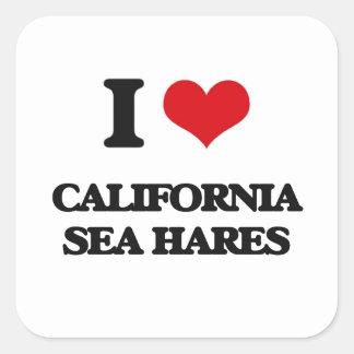 Amo las liebres de mar de California Pegatina Cuadrada