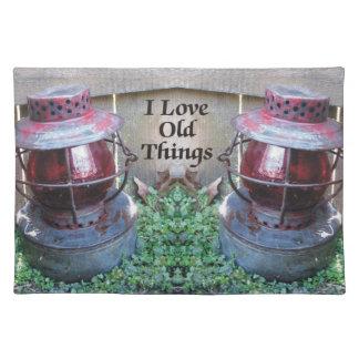 Amo las linternas antiguas Placemat de las viejas Mantel Individual