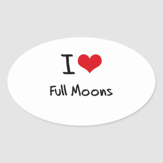 Amo las Luna Llena Pegatina Ovalada