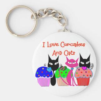 Amo las magdalenas y los gatos --Regalos de los a Llavero Personalizado