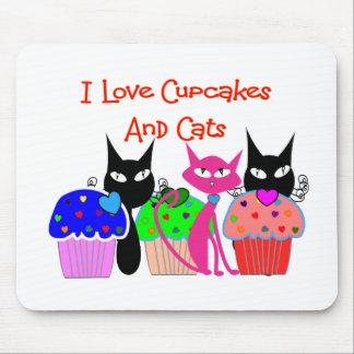 Amo las magdalenas y los gatos --Regalos de los a Alfombrillas De Ratón