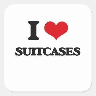 Amo las maletas pegatina cuadrada