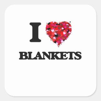 Amo las mantas pegatina cuadrada