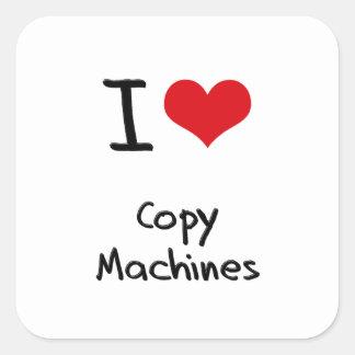 Amo las máquinas de la copia calcomanías cuadradass personalizadas