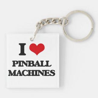 Amo las máquinas de pinball llavero cuadrado acrílico a doble cara