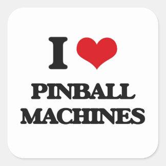 Amo las máquinas de pinball pegatina cuadrada