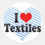 Amo las materias textiles pegatina redonda