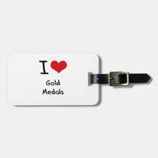 Amo las medallas de oro etiquetas bolsa