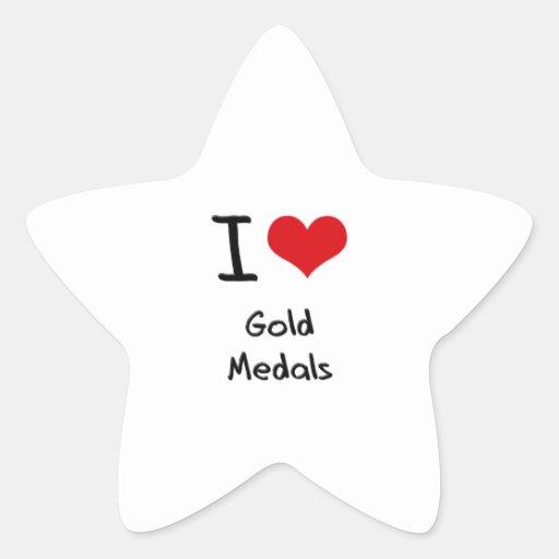 Amo las medallas de oro calcomanías forma de estrellaes