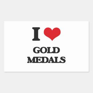 Amo las medallas de oro pegatina rectangular
