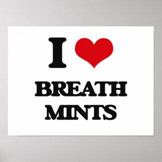Amo las mentas de la respiración póster