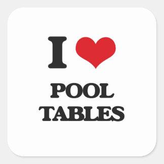 Amo las mesas de billar pegatina cuadrada