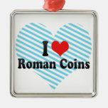 Amo las monedas romanas ornamento para arbol de navidad