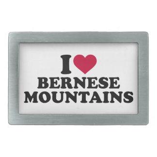 Amo las montañas de Bernese Hebilla De Cinturon Rectangular