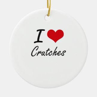 Amo las muletas adorno navideño redondo de cerámica