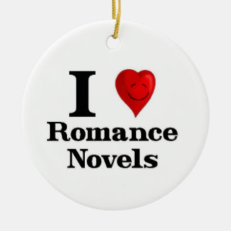 Amo las novelas románticas adorno navideño redondo de cerámica