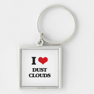 Amo las nubes de polvo llavero cuadrado plateado