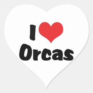 Amo las orcas del corazón - amante de la orca pegatina en forma de corazón