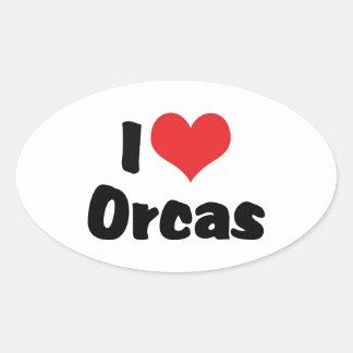 Amo las orcas del corazón - amante de la orca pegatina ovalada