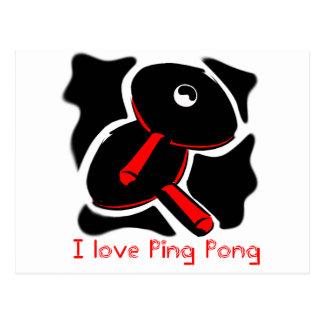 Amo las paletas del místico del ping-pong postales