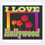 AMO las palmeras de Hollywood en los pegatinas de Calcomania Cuadradas Personalizadas