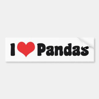 Amo las pandas del corazón - amante de la panda pegatina para auto