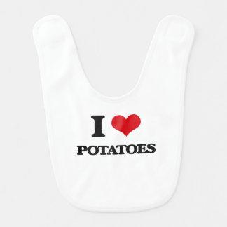 Amo las patatas baberos de bebé
